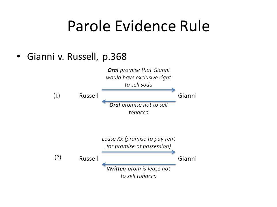 Parole Evidence Rule Gianni v.
