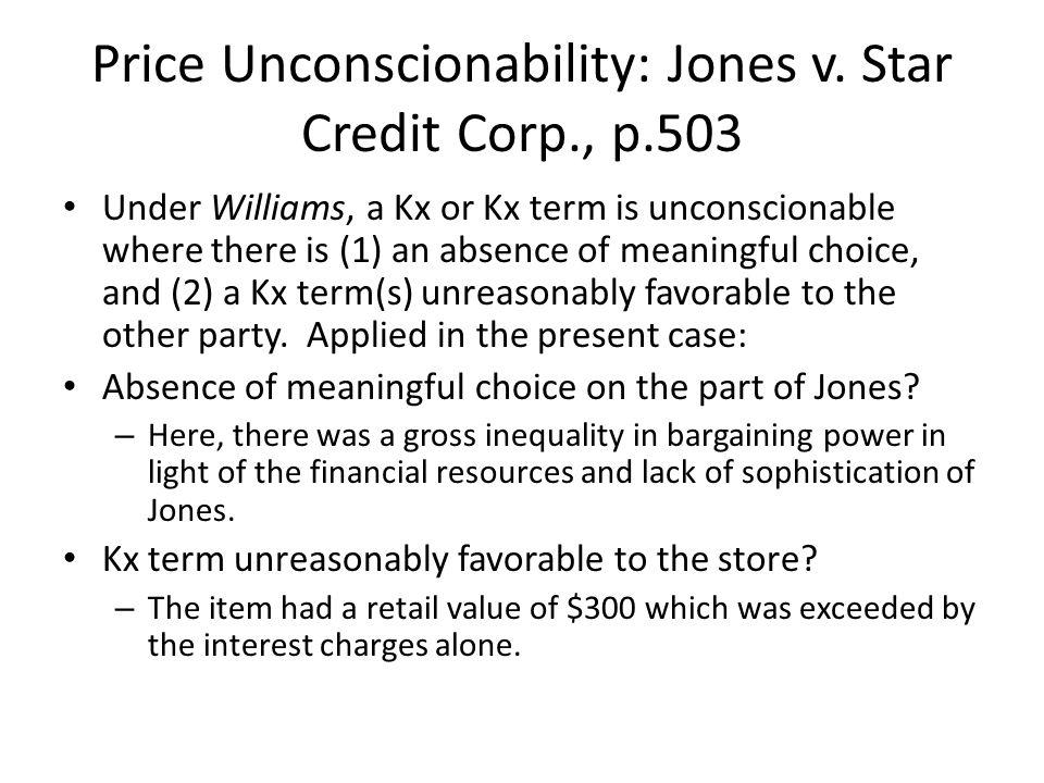 Price Unconscionability: Jones v.