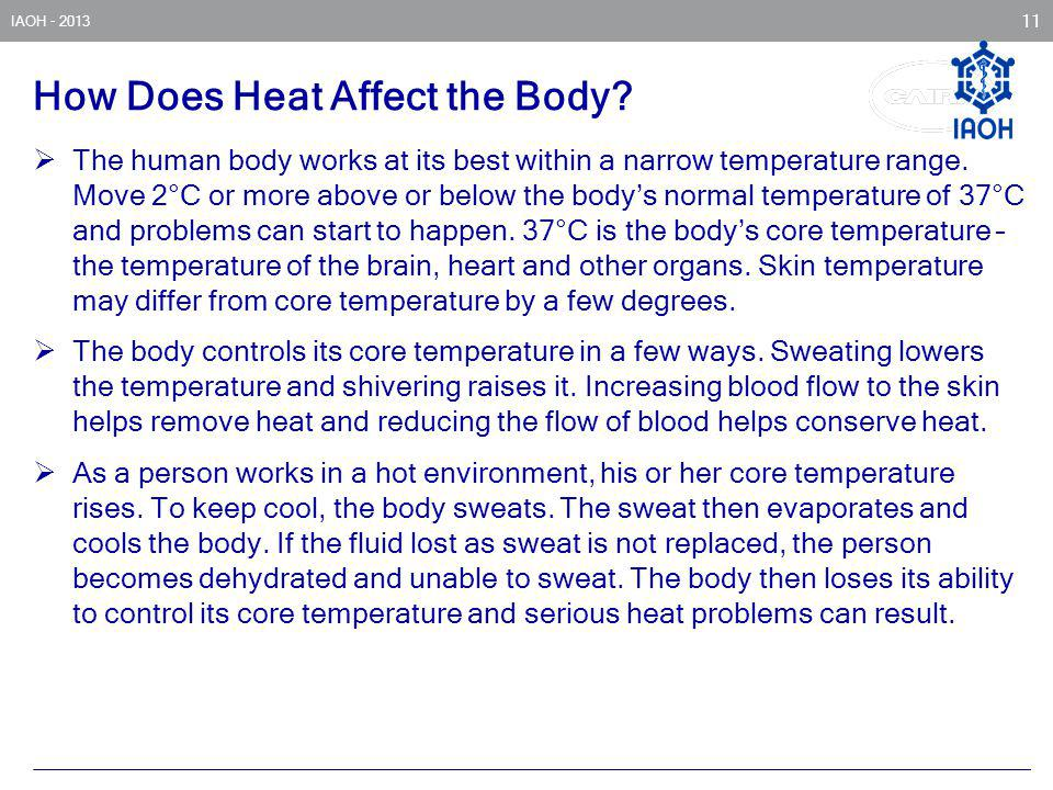 IAOH - 2013 11 How Does Heat Affect the Body? The human body works at its best within a narrow temperature range. Move 2°C or more above or below the