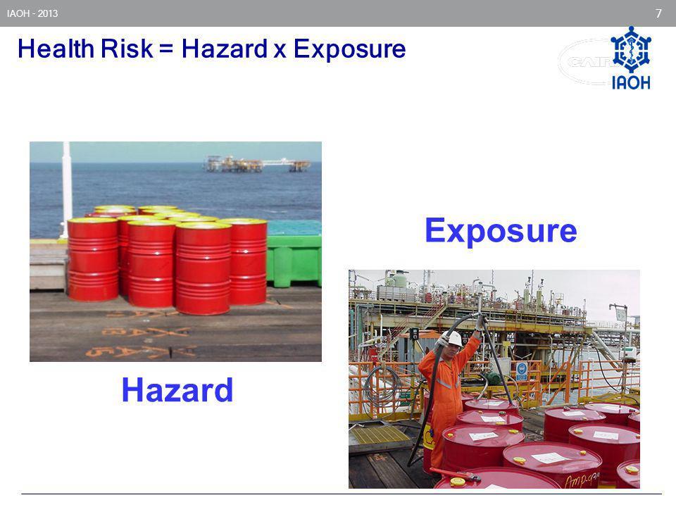 IAOH - 2013 7 Health Risk = Hazard x Exposure Exposure Hazard