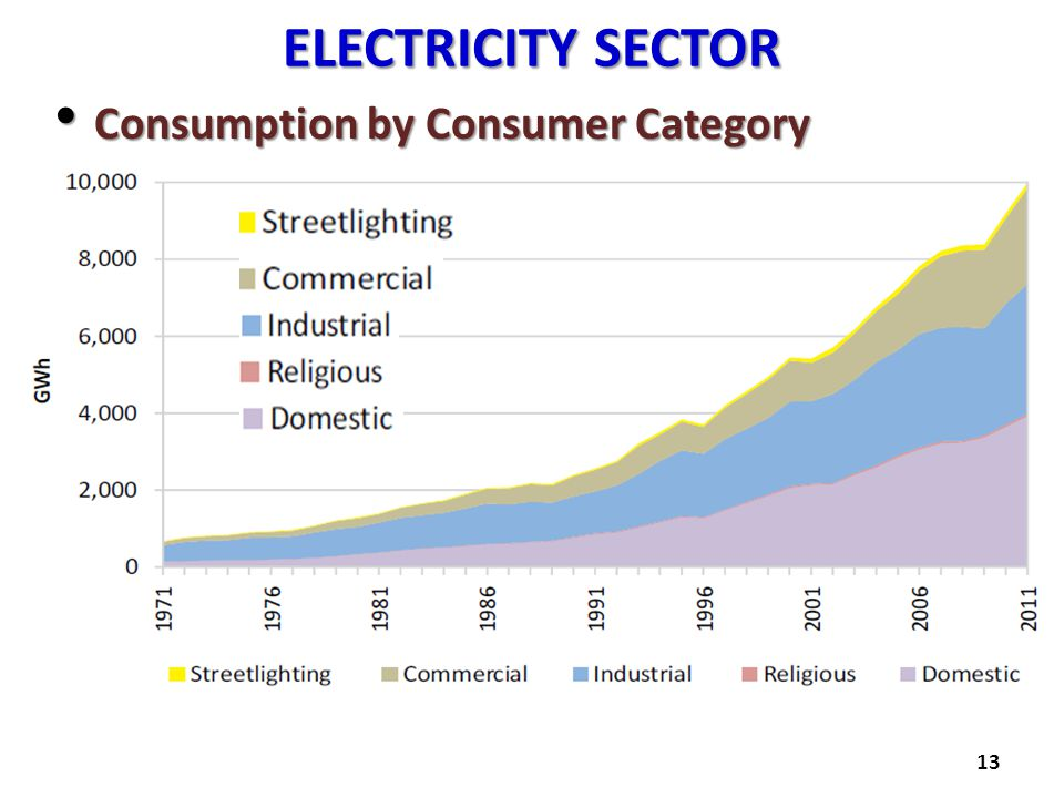 ELECTRICITY SECTOR Consumption by Consumer Category Consumption by Consumer Category 13
