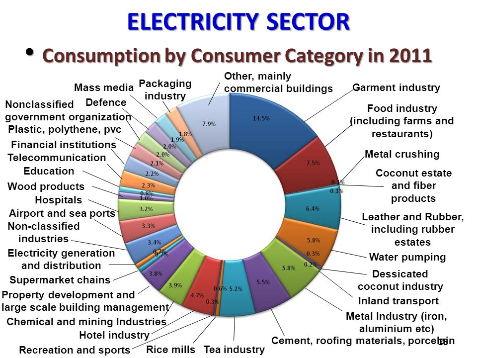 ELECTRICITY SECTOR Consumption by Consumer Category in 2011 Consumption by Consumer Category in 2011 15 Garment industry Food industry (including farm