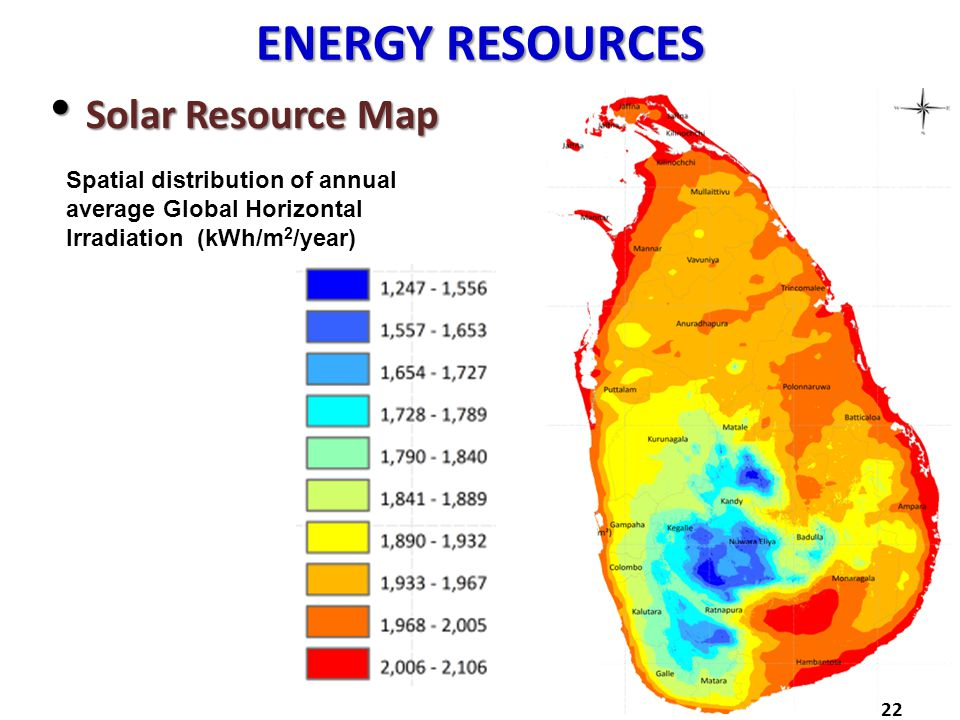 ENERGY RESOURCES Solar Resource Map Solar Resource Map 22 Spatial distribution of annual average Global Horizontal Irradiation (kWh/m 2 /year)