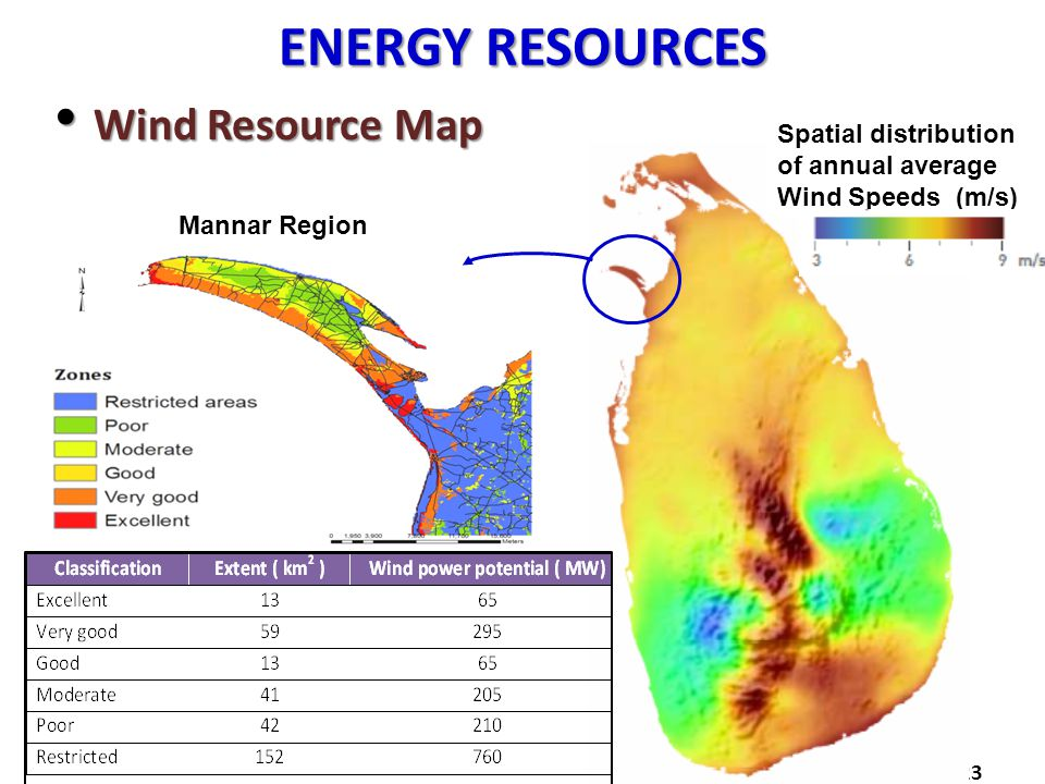 ENERGY RESOURCES Wind Resource Map Wind Resource Map 23 Mannar Region Spatial distribution of annual average Wind Speeds (m/s)