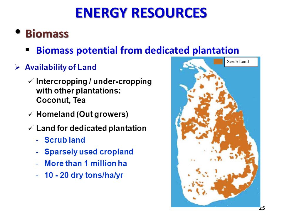 ENERGY RESOURCES Biomass Biomass Biomass potential from dedicated plantation 25 Availability of Land Intercropping / under-cropping with other plantat