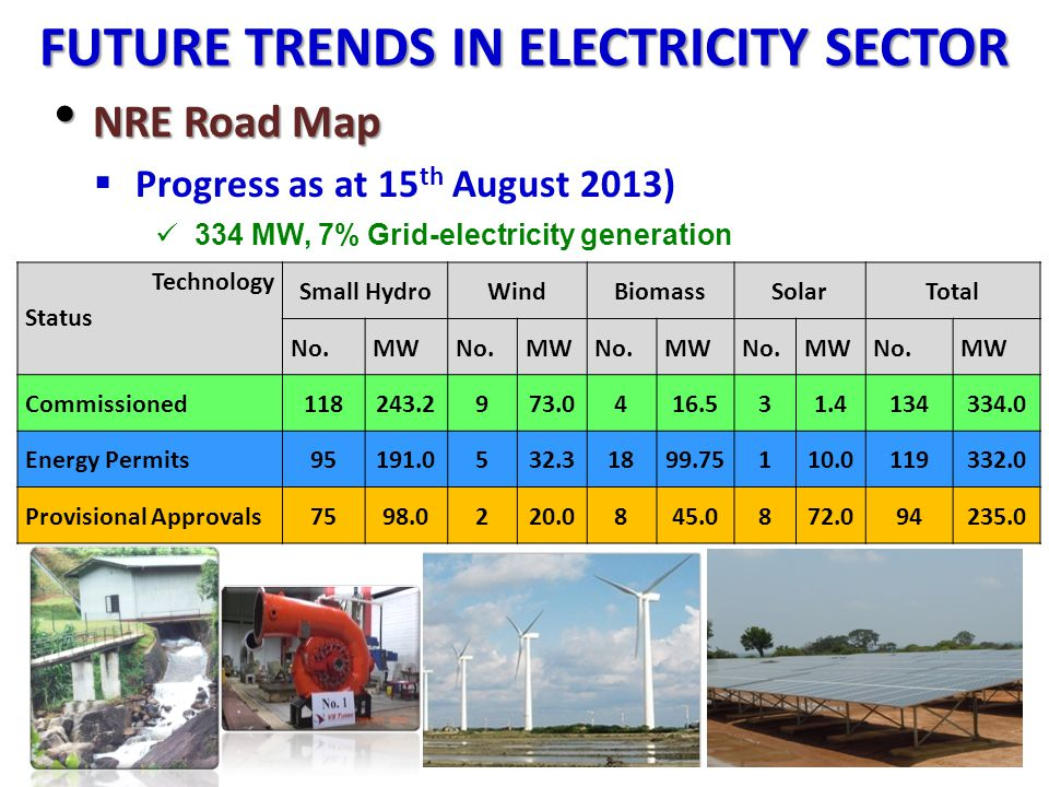 FUTURE TRENDS IN ELECTRICITY SECTOR NRE Road Map NRE Road Map Progress as at 15 th August 2013) 334 MW, 7% Grid-electricity generation 32 Technology S