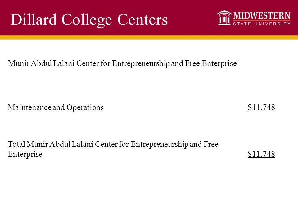 Dillard College Centers Munir Abdul Lalani Center for Entrepreneurship and Free Enterprise Maintenance and Operations$11,748 Total Munir Abdul Lalani Center for Entrepreneurship and Free Enterprise$11,748