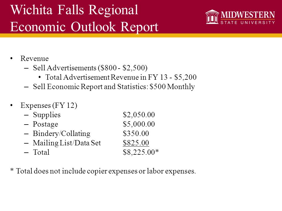 Wichita Falls Regional Economic Outlook Report Revenue – Sell Advertisements ($800 - $2,500) Total Advertisement Revenue in FY 13 - $5,200 – Sell Econ