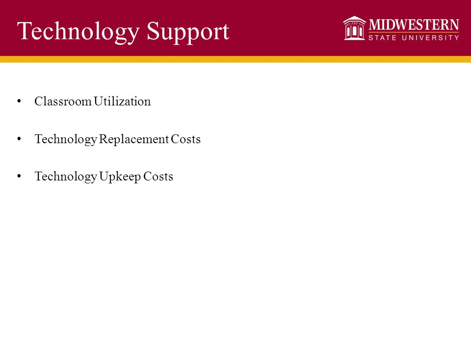 Classroom Utilization Technology Replacement Costs Technology Upkeep Costs