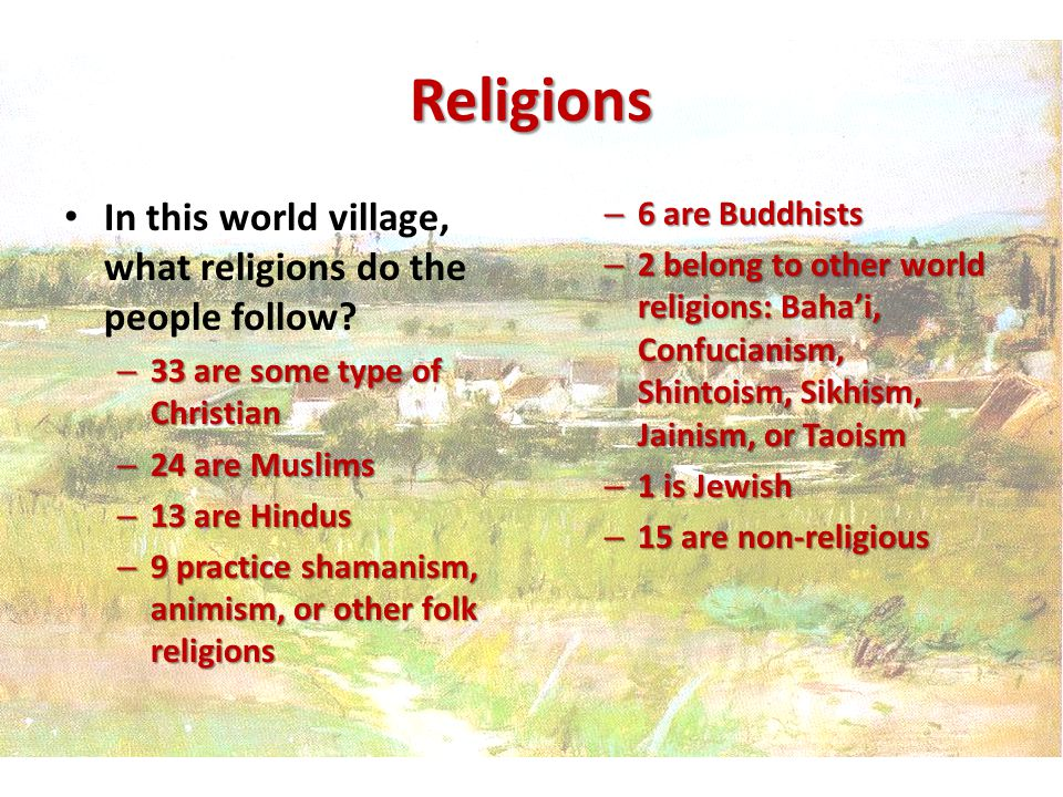 Religions In this world village, what religions do the people follow.