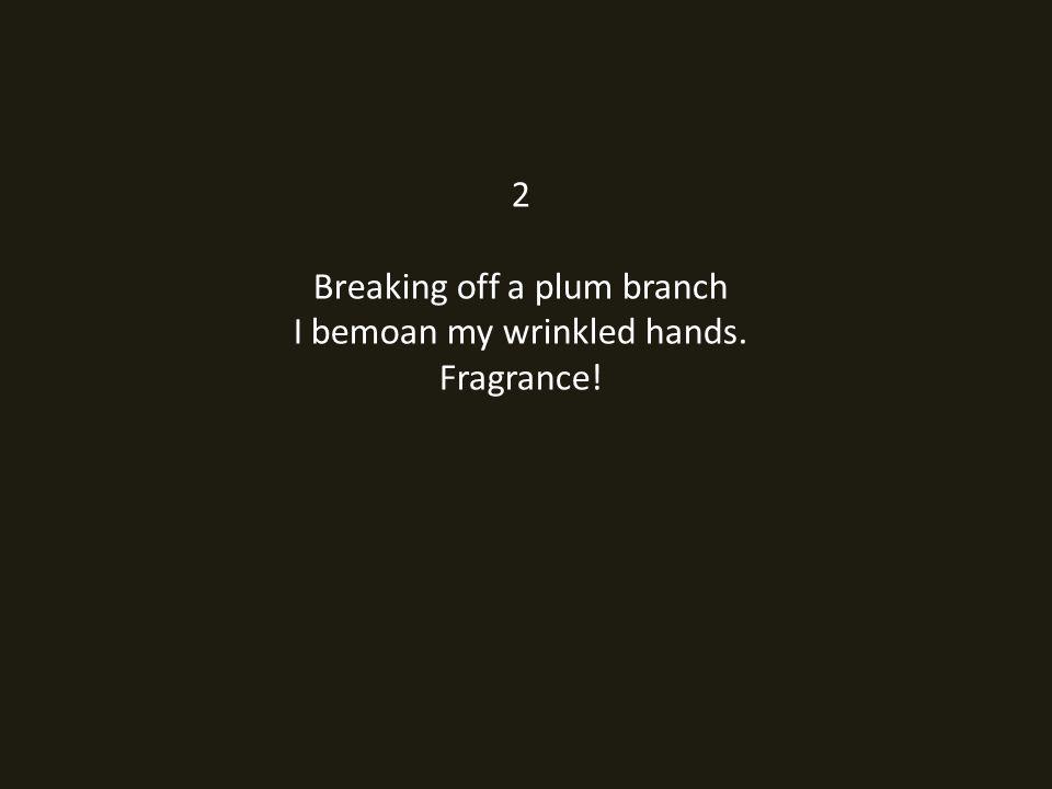 2 Breaking off a plum branch I bemoan my wrinkled hands. Fragrance!