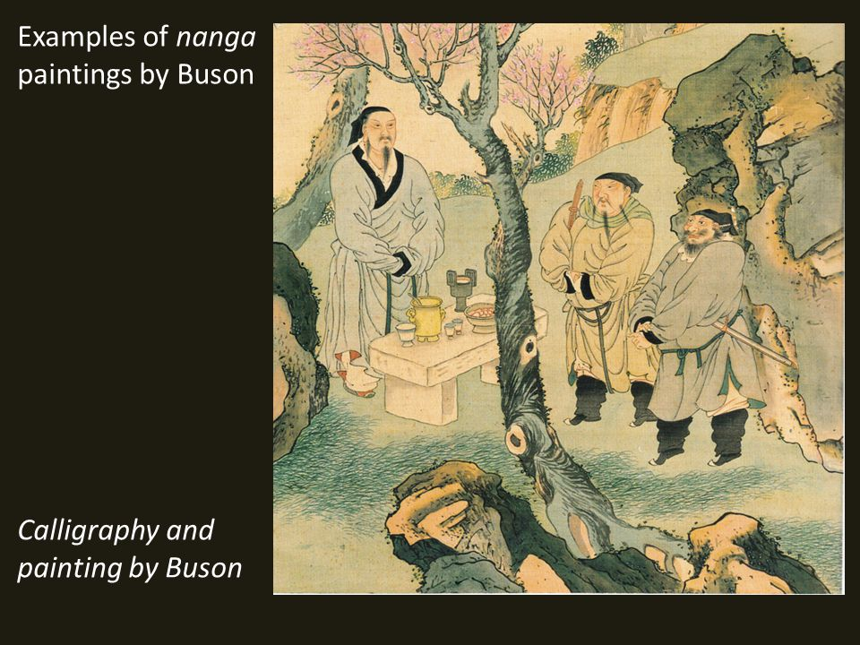 Examples of nanga paintings by Buson Calligraphy and painting by Buson