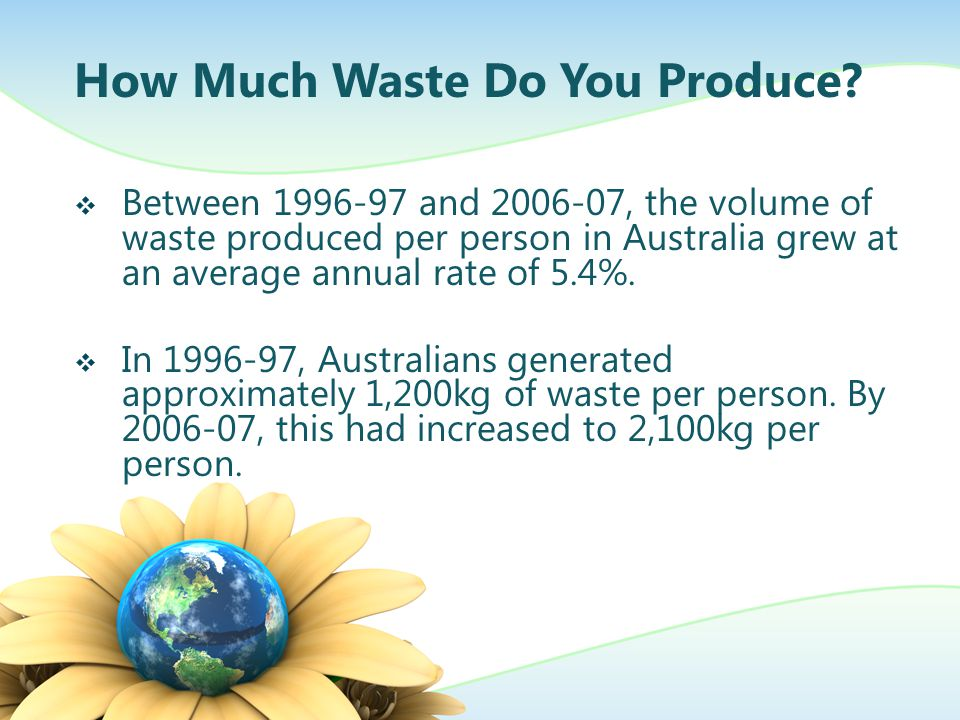 How Much Waste Do You Produce? Between 1996-97 and 2006-07, the volume of waste produced per person in Australia grew at an average annual rate of 5.4