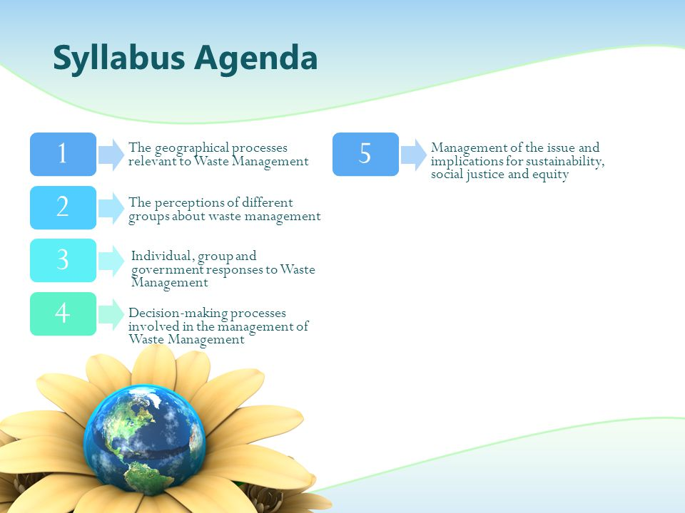 Syllabus Agenda 1234 The geographical processes relevant to Waste Management The perceptions of different groups about waste management Individual, gr