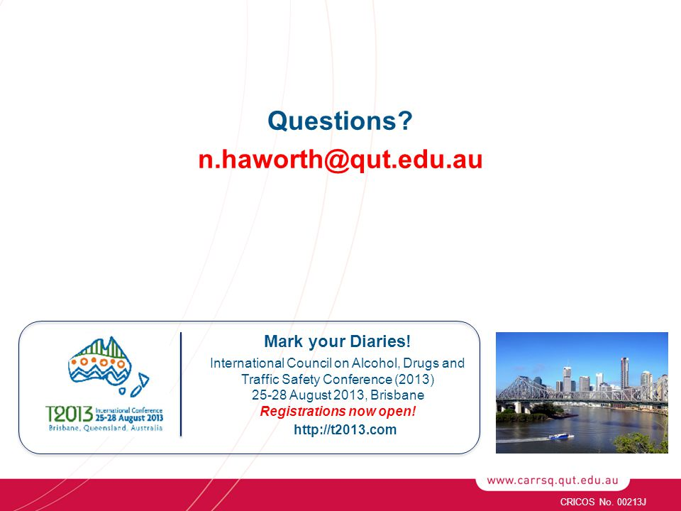 Questions. n.haworth@qut.edu.au http://t2013.com Mark your Diaries.