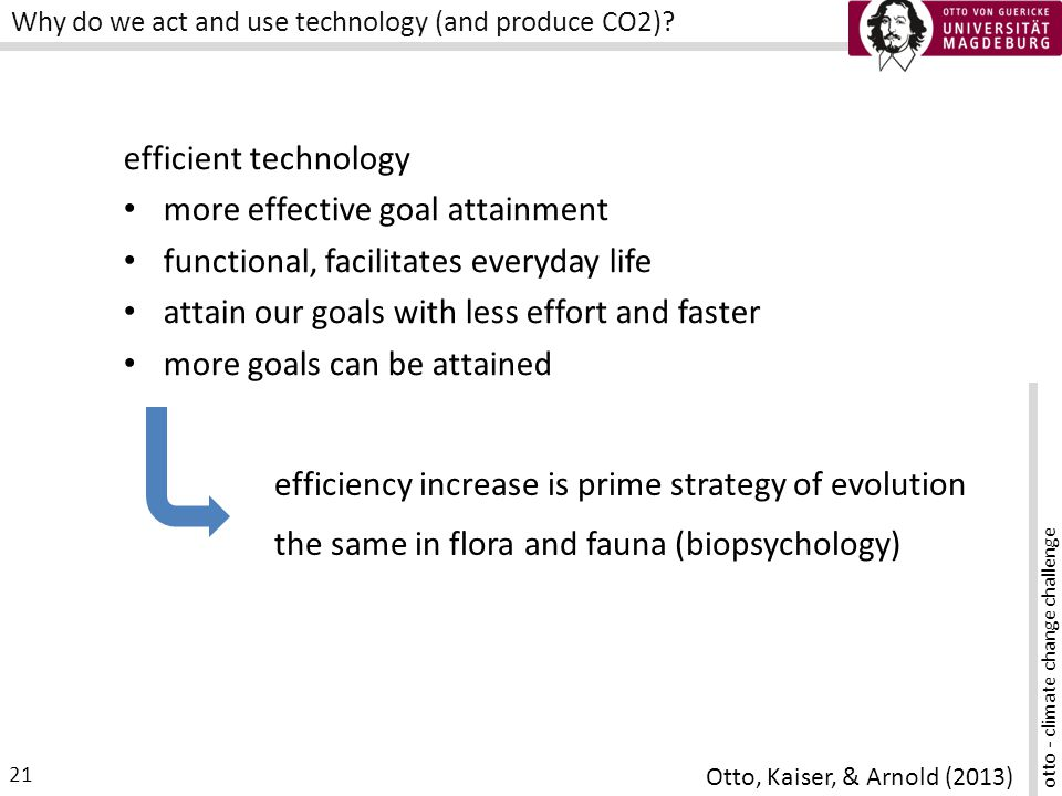 otto - climate change challenge 21 Why do we act and use technology (and produce CO2).