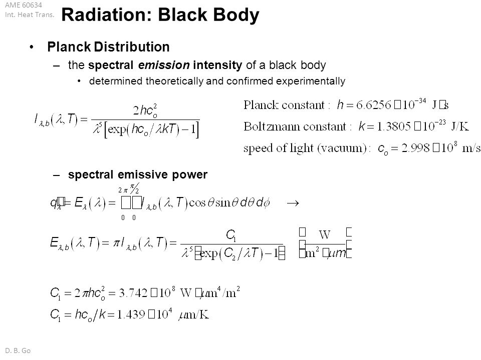 AME 60634 Int. Heat Trans. D. B. Go Radiation: Black Body Planck Distribution –the spectral emission intensity of a black body determined theoreticall