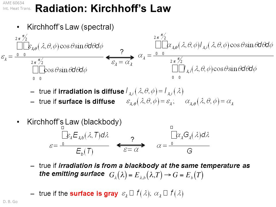 AME 60634 Int. Heat Trans. D. B. Go Radiation: Kirchhoffs Law Kirchhoffs Law (spectral) –true if irradiation is diffuse –true if surface is diffuse Ki