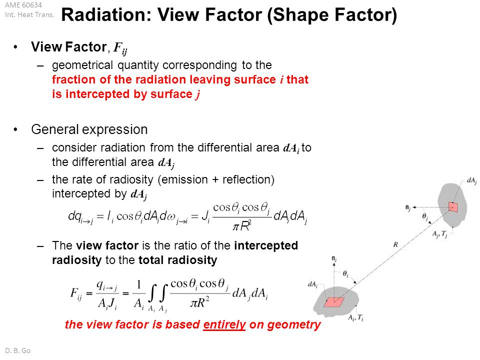 AME 60634 Int. Heat Trans. D. B. Go Radiation: View Factor (Shape Factor) View Factor, F ij –geometrical quantity corresponding to the fraction of the