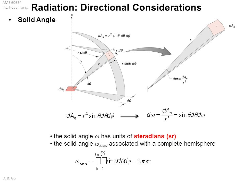 AME 60634 Int. Heat Trans. D. B. Go Solid Angle Radiation: Directional Considerations the solid angle ω has units of steradians (sr) the solid angle ω