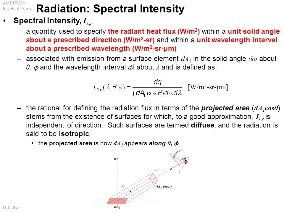 AME 60634 Int. Heat Trans. D. B. Go Radiation: Spectral Intensity Spectral Intensity, I λ,e –a quantity used to specify the radiant heat flux (W/m 2 )