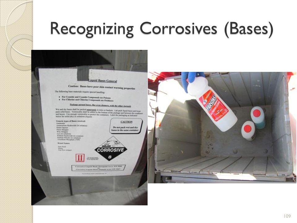 Recognizing Corrosives (Bases) 109