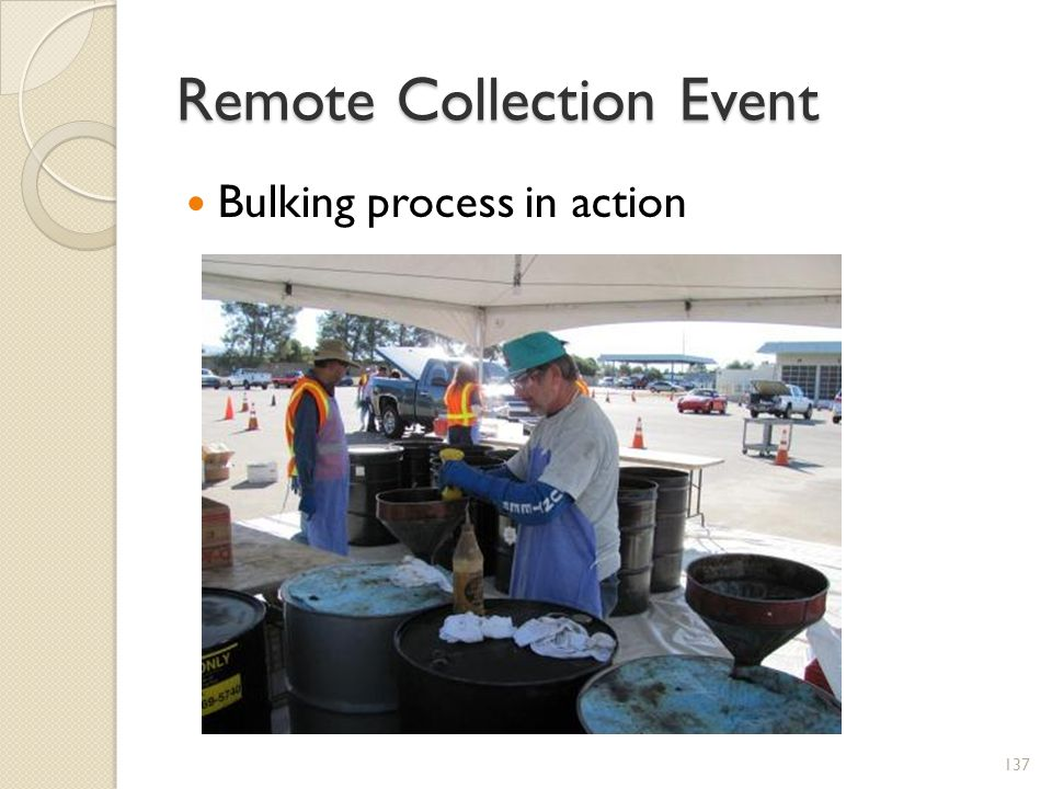 Remote Collection Event Bulking process in action 137