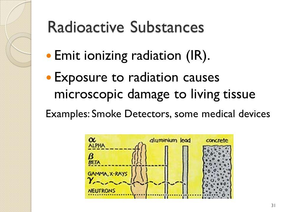Radioactive Substances Emit ionizing radiation (IR).