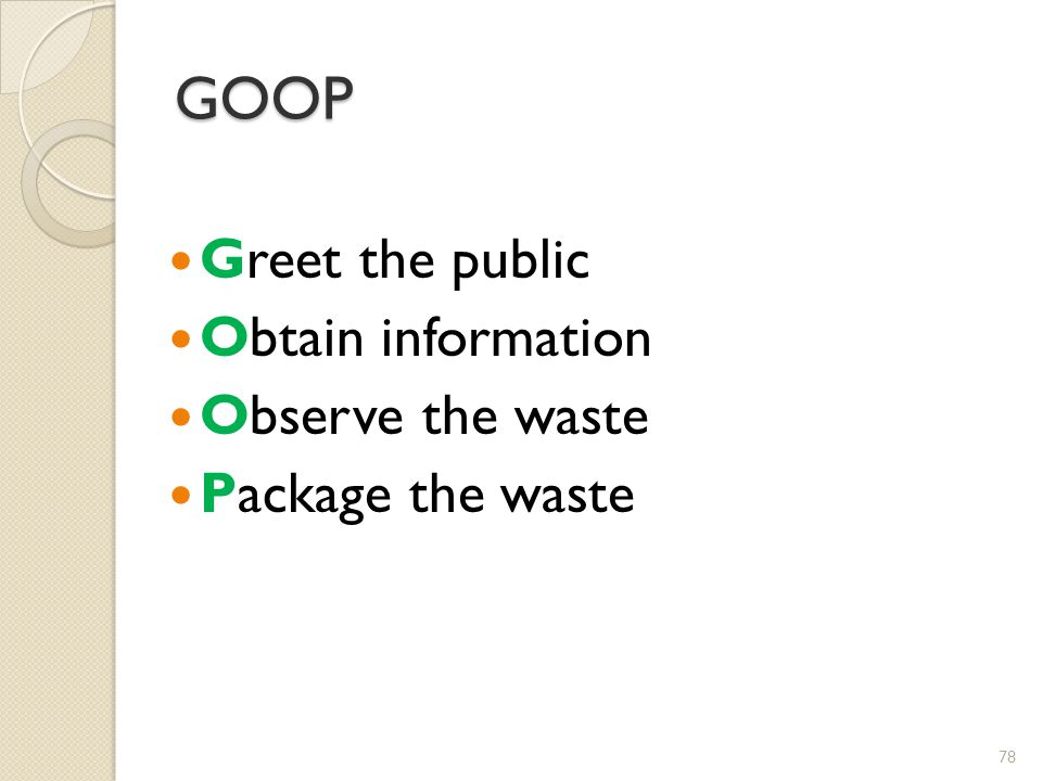 GOOP Greet the public Obtain information Observe the waste Package the waste 78