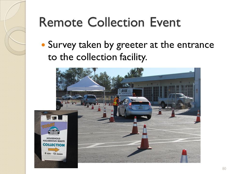 Remote Collection Event Survey taken by greeter at the entrance to the collection facility. 80