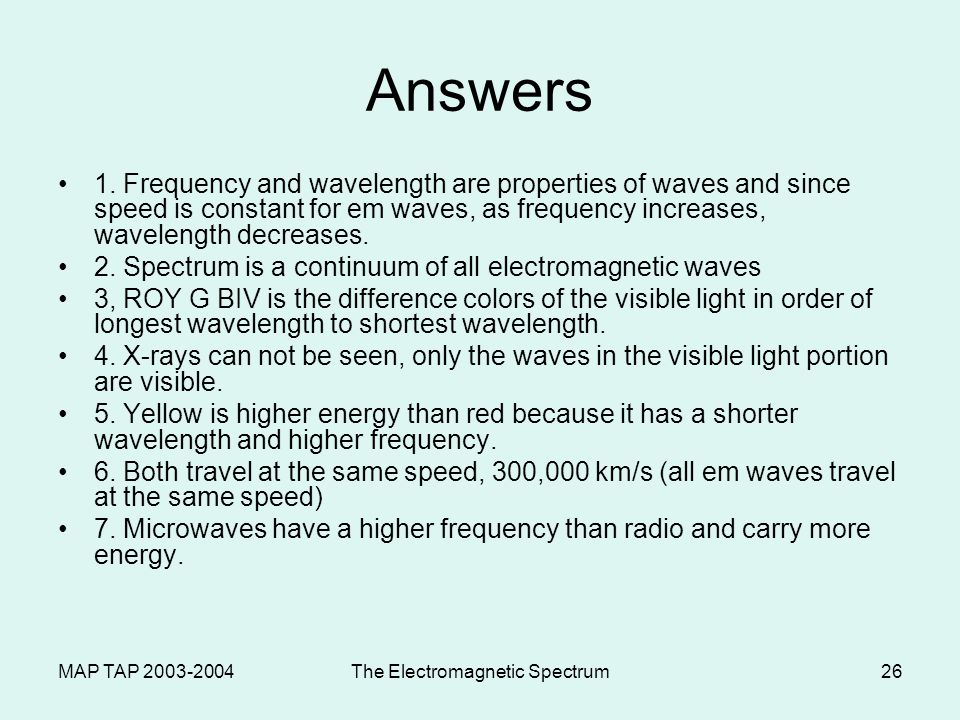 MAP TAP 2003-2004The Electromagnetic Spectrum26 Answers 1. Frequency and wavelength are properties of waves and since speed is constant for em waves,