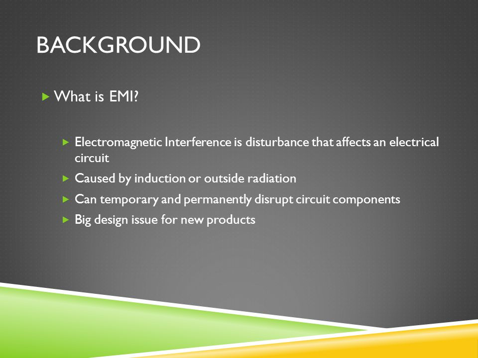 CONCLUSION Introduction and Background Examples of Electromagnetic Interference Prevention and Mitigation Techniques Laws and Regulations Questions?