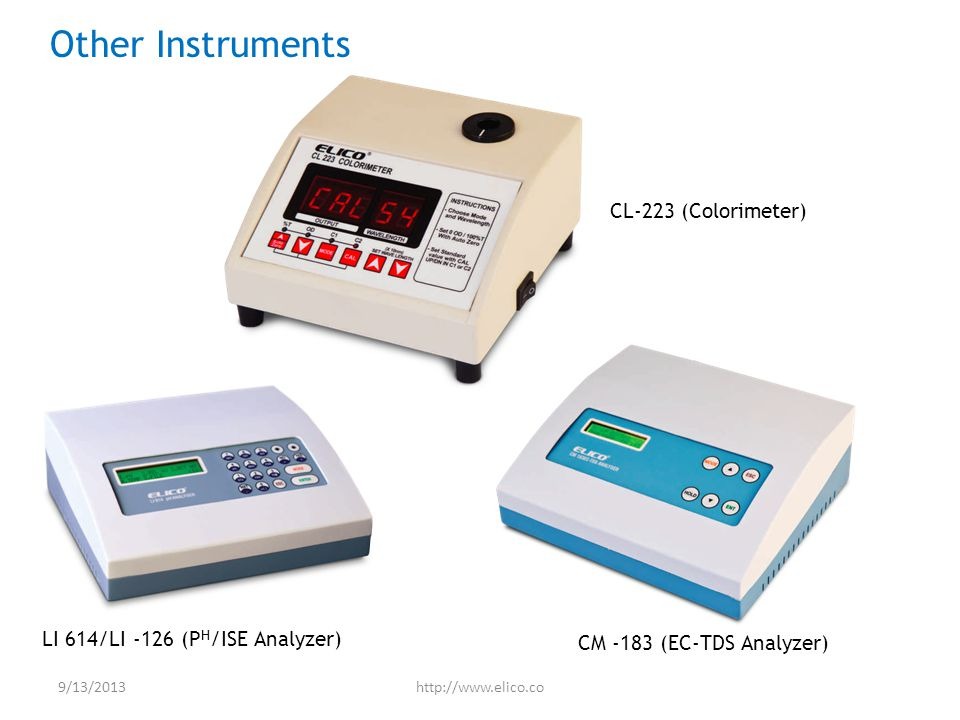 LI 614/LI -126 (P H /ISE Analyzer) CM -183 (EC-TDS Analyzer) CL-223 (Colorimeter) Other Instruments 9/13/2013http://www.elico.co