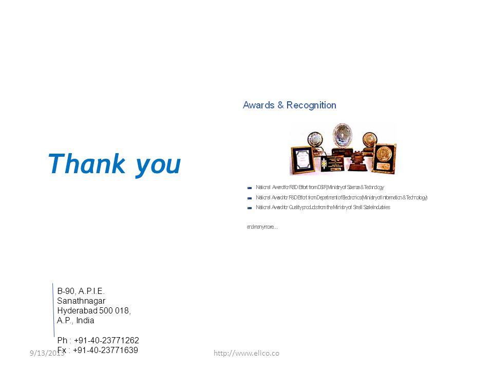 B-90, A.P.I.E. Sanathnagar Hyderabad 500 018, A.P., India Ph : +91-40-23771262 Fx : +91-40-23771639 Thank you 9/13/2013http://www.elico.co