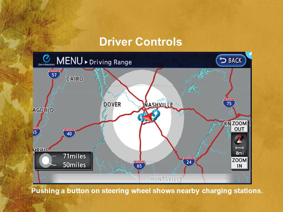 Driver Controls Pushing a button on steering wheel shows nearby charging stations.