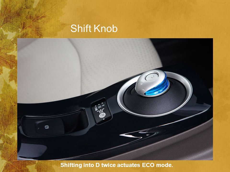 Shift Knob Shifting into D twice actuates ECO mode.