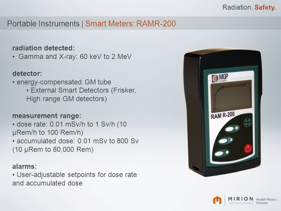 Radiation. Safety. Portable Instruments | Smart Meters: RAMR-200 radiation detected: Gamma and X-ray: 60 keV to 2 MeV detector: energy-compensated GM