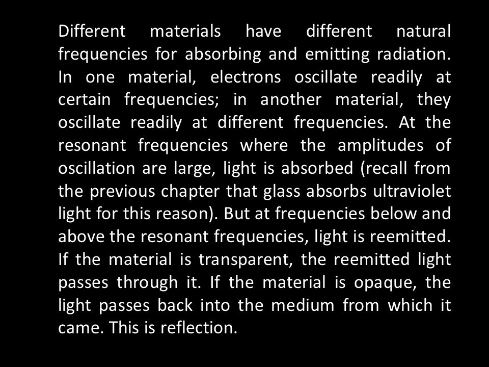 Different materials have different natural frequencies for absorbing and emitting radiation. In one material, electrons oscillate readily at certain f