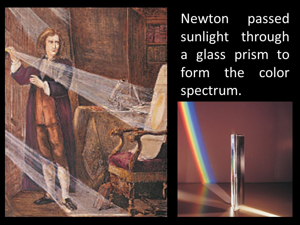 Newton passed sunlight through a glass prism to form the color spectrum.