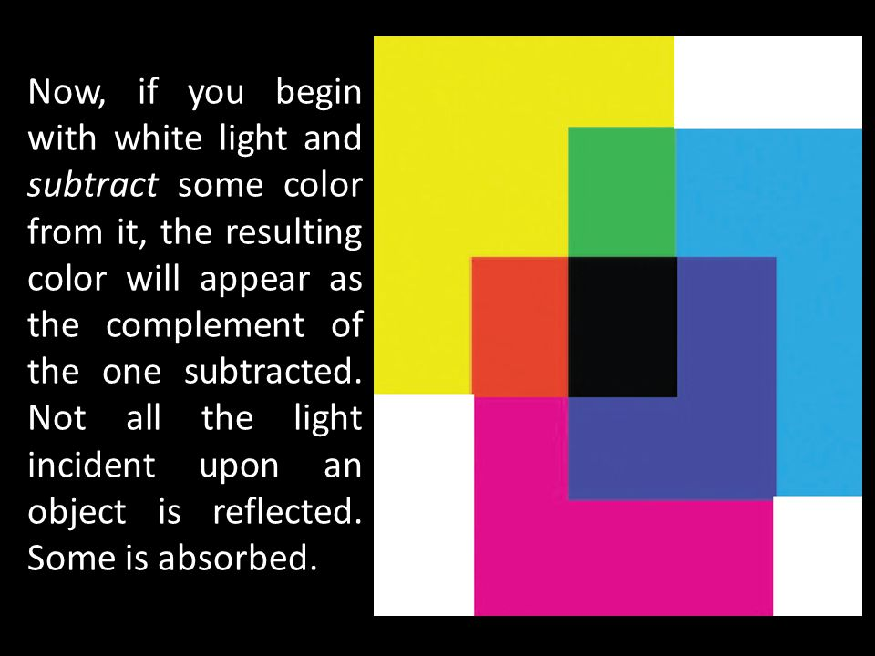 Now, if you begin with white light and subtract some color from it, the resulting color will appear as the complement of the one subtracted. Not all t