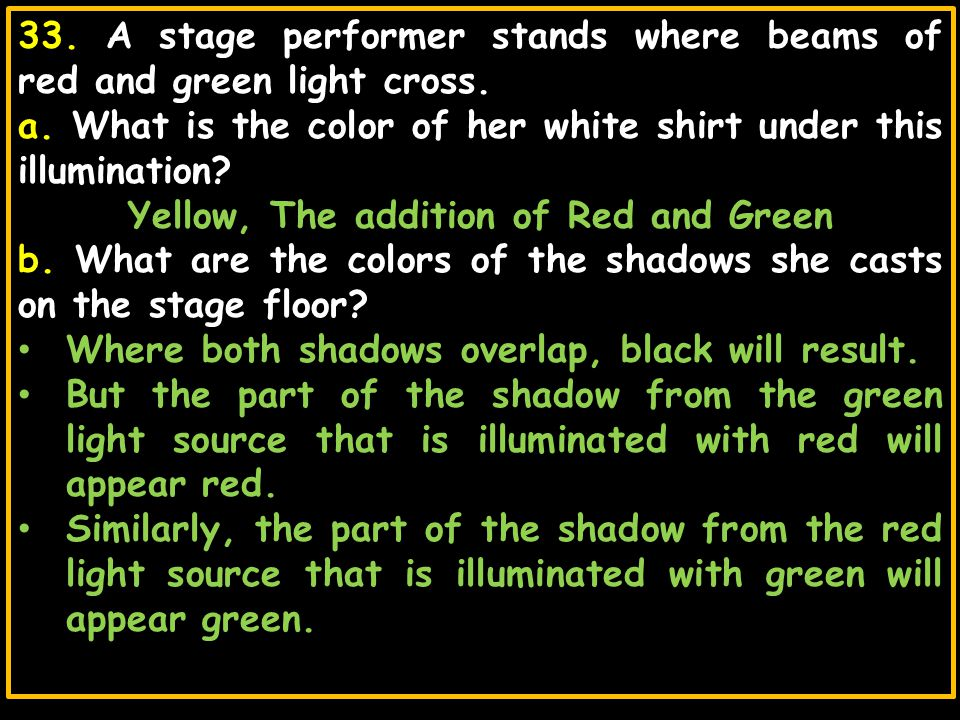 33. A stage performer stands where beams of red and green light cross. a. What is the color of her white shirt under this illumination? Yellow, The ad