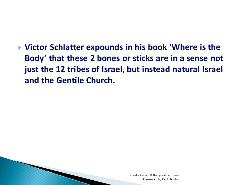 Victor Schlatter expounds in his book Where is the Body that these 2 bones or sticks are in a sense not just the 12 tribes of Israel, but instead natural Israel and the Gentile Church.