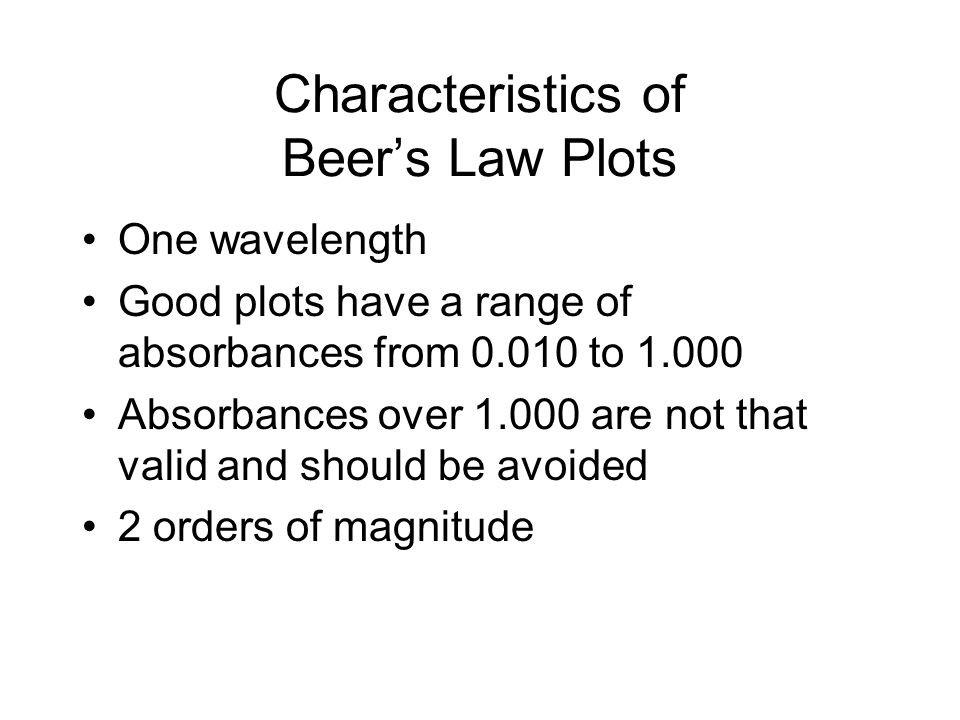 Characteristics of Beers Law Plots One wavelength Good plots have a range of absorbances from 0.010 to 1.000 Absorbances over 1.000 are not that valid