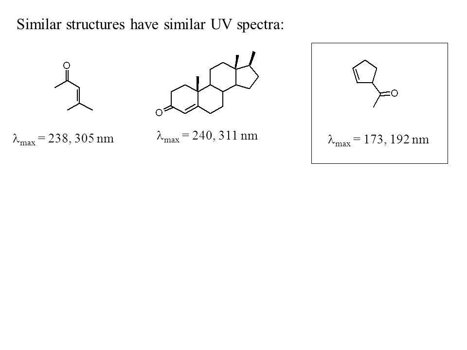 Similar structures have similar UV spectra: max = 238, 305 nm max = 240, 311 nm max = 173, 192 nm