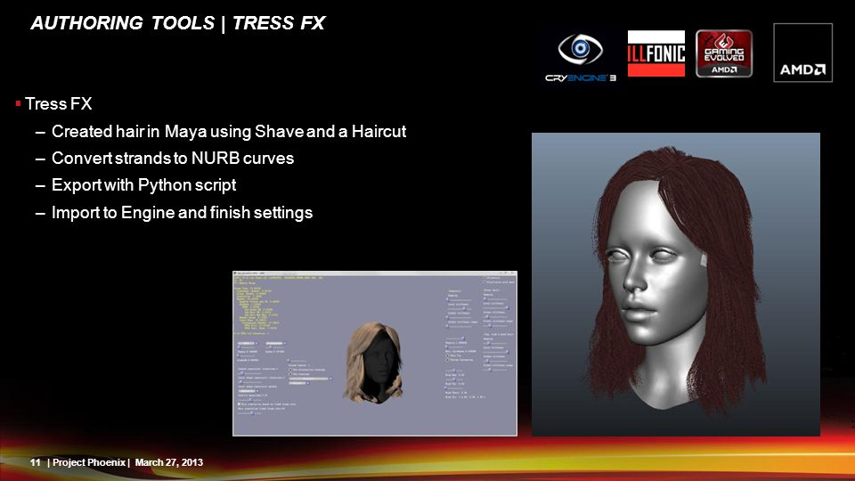 11| Project Phoenix | March 27, 2013 AUTHORING TOOLS | TRESS FX Tress FX –Created hair in Maya using Shave and a Haircut –Convert strands to NURB curv