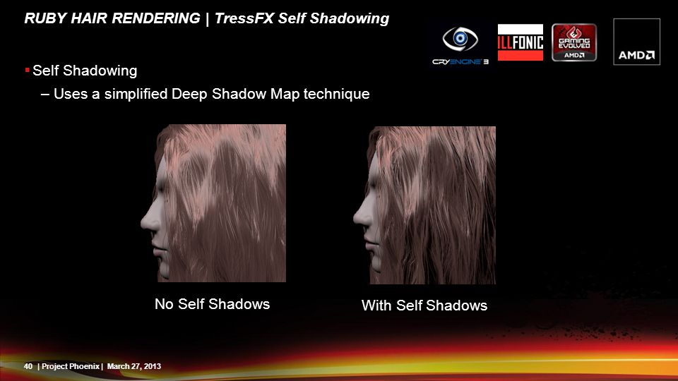 40| Project Phoenix | March 27, 2013 RUBY HAIR RENDERING | TressFX Self Shadowing Self Shadowing –Uses a simplified Deep Shadow Map technique No Self