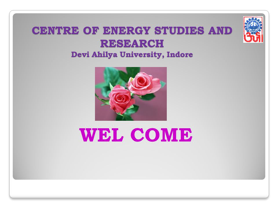 CENTRE OF ENERGY STUDIES AND RESEARCH Devi Ahilya University, Indore WEL COME