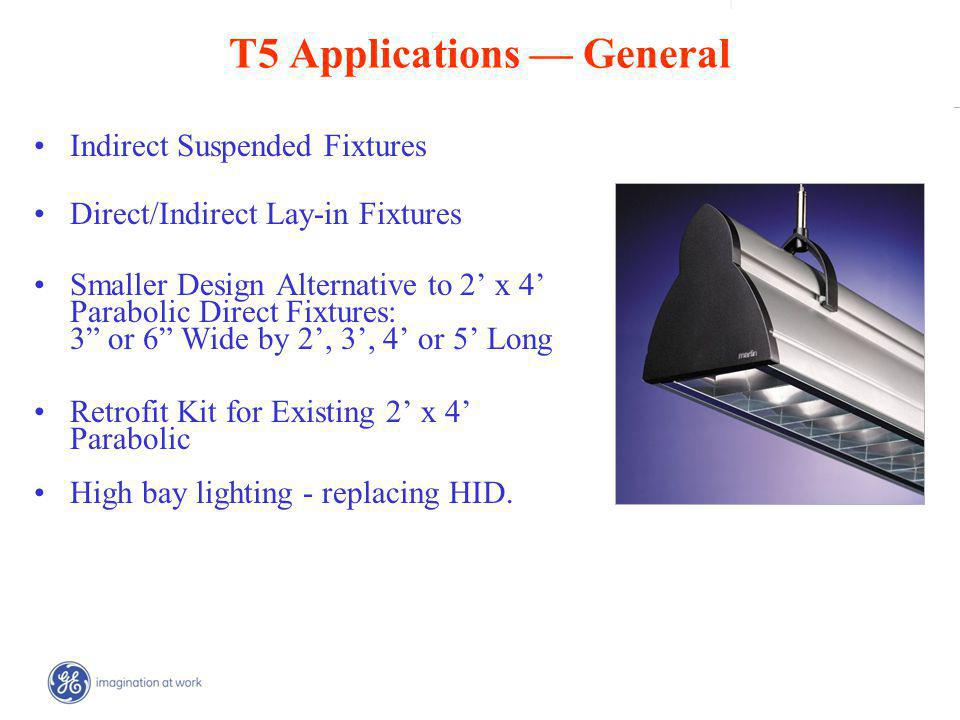 | _ T5 Applications General Indirect Suspended Fixtures Direct/Indirect Lay-in Fixtures Smaller Design Alternative to 2 x 4 Parabolic Direct Fixtures: 3 or 6 Wide by 2, 3, 4 or 5 Long Retrofit Kit for Existing 2 x 4 Parabolic High bay lighting - replacing HID.