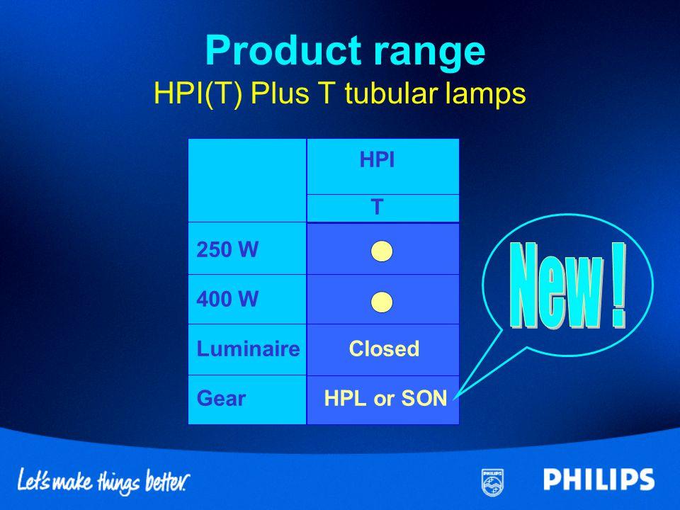 HPI-T Plus 250 W T 400 W T GearHPL/HPISONHPL/HPI SON Lamp powerW245295390445 Luminous fluxlm19 00023 00035 00038 000 Luminous efficacylm/W78789085 Correlated colour tempK4600400043003900 Specifications HPI(T) Plus (tubular) lamps