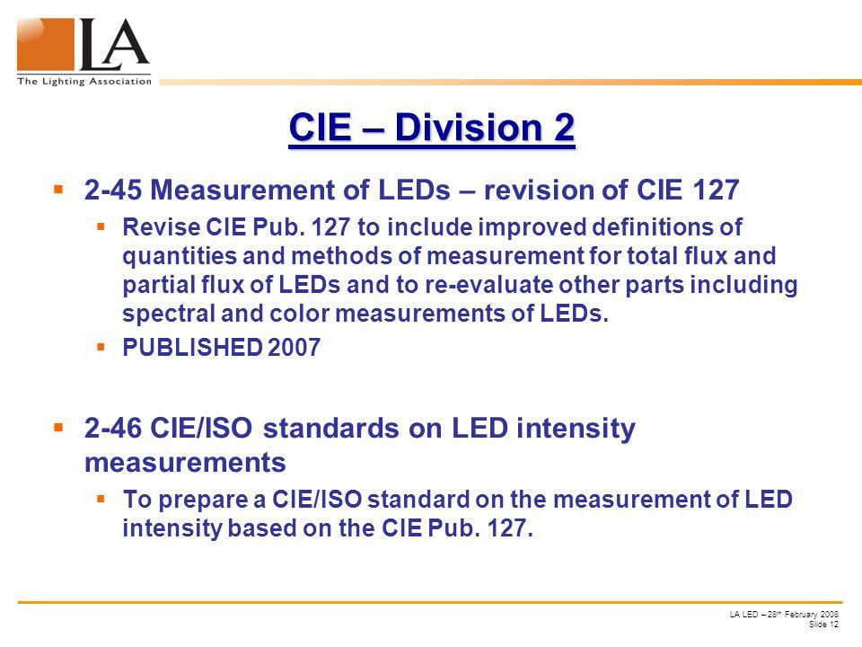 LA LED – 28 th February 2008 Slide 12 CIE – Division 2 2-45 Measurement of LEDs – revision of CIE 127 Revise CIE Pub.